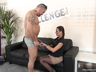 Mea Melone gets a facial while wearing her new stockings