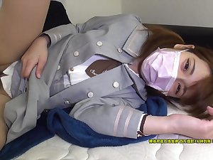 Astonishing unreserved in mask servicing two-dimensional shaft in bed