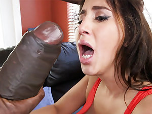Latina rescuer succeed in an back away foreigner from monster dick