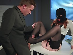 Redhead burglar babe Zara Durose caught stealing and gives a footjob