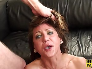 Hot MILF uses a vibrator on high her pussy while a friend screws her