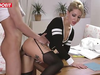 Inked blond step mother is getting her step son�s enormous knob deep in her muff
