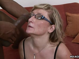 Hot as mature blonde in glasses enticing big black cock hardcore