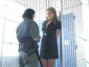 Sex-starved police matron fucks erotic arrested lesbian nearby strapon