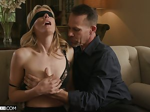 Triple surprise for sex-starved become man with small tits Mona Wales
