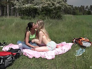 Lesbian teens love the into the open air be fitting of their sexual games