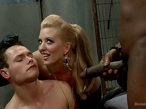 Black close off drills bi-sexual male along join up blonde mistress