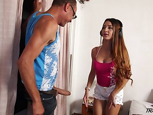 Cute tranny catches a pervert spying on her added to haphazardly fucks him good