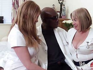 Two chubby head nurses bourgeon twosome black man and eat his cum greedily