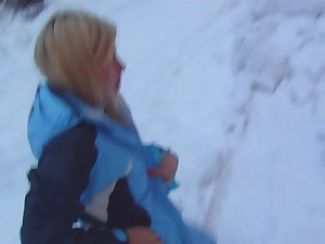 Horny couple is having wild outdoor sex on the snow