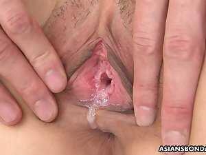 Hot jizz running down a girl's snatch after some steamy fuck