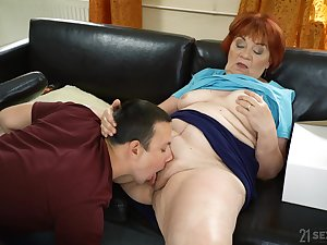 Granny loads her fat pussy yon the nephew's energized dick