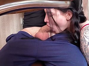 Schoolgirl Blowjob Under Game table plus Rough Sex - Cum on the top of Pussy