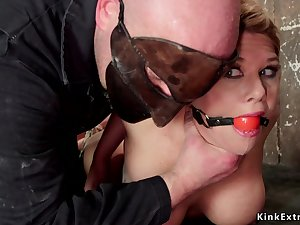 Gagged huge knockers blond hair lady nearly hogtie