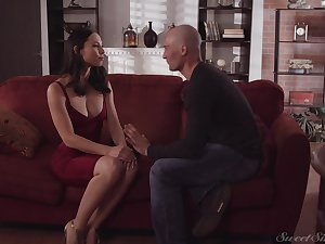 Adorable babe in white-hot dress Aidra Fox gets her pussy fucked by bald headed guy