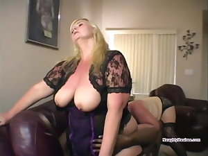 Lucky alms-man face sat by two big tits BBWs