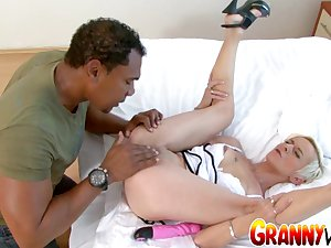 Grandma Roxette Gets Destroyed by Her Mans Huge Cock