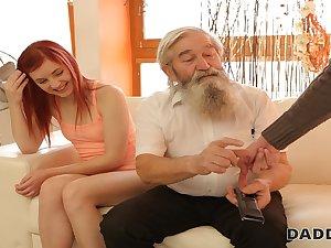 DADDY4K. Pulchritudinous redhead has crazy sex with elderly man