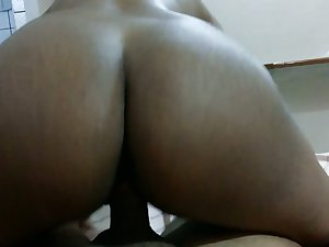 Chunky bottomed frowning GF of my buddy jiggles her high horse strong fat cock