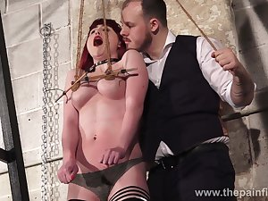 Red haired latitudinarian Louise Red is tied up together with punished with clothes pins