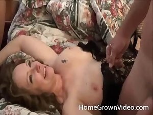 Husband shares his BBW wife with his overcome friend on hammer away bed