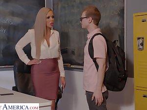 Lickerish nerdy MILFie tutor Nina Elle fucks well with her student beyond the desk