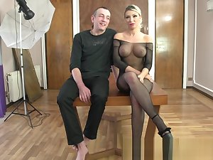 Bimbo Rebeca Cerrera gets busted by Dieter Von Stein (incl. interviews)