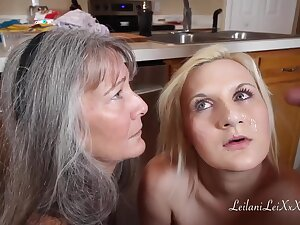 Mature woman is giving a easy blowjob lesson to her step- daughter, during a threesome