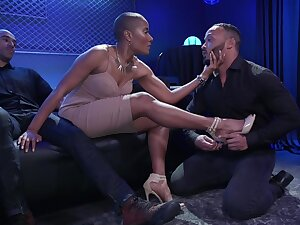 Ebony bossy bitch puts on strapon and fucks one of will not hear of lovers