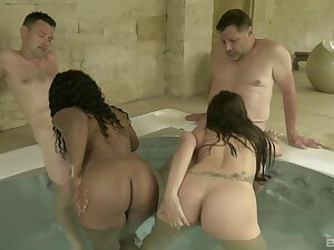 Screwing in rub-down the sauna motivation two guys and two erotic hookers