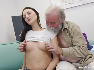 Sweet babe Katy Rose takes money to have sex in all directions an elder man