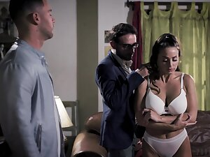 Duo brutal guys fuck seductive babe Abigail Mac in mouth with the addition of pussy