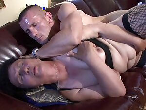 Grotesque mature whore fucks a given that's younger than her and she's so nasty