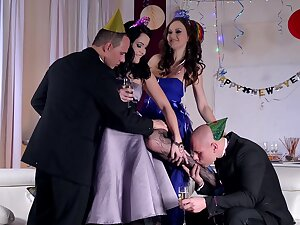 Festive foursome with hot babes Dolly Diore with an increment of Tina Kay