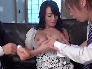 Busty Japanese pornstar Rei Kitajima fucked by two sweltering guys