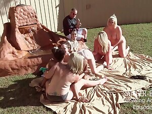 Marketable babes licking and fucking toys in outdoor lesbian orgy