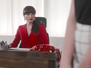 Tranny boss ass fucks blonde girl on her first day before endeavour