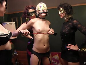 Small tits slut tied give and tortured by dominant babes. HD