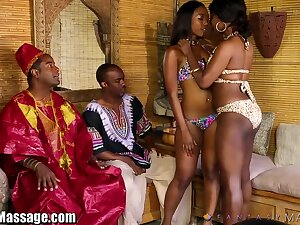 Hot African body of men give a nuru rub-down and acquire their pussies fucked