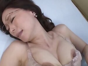 Disingenuous Japanese mature masturbates and gets fucked willing by her lover