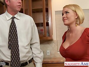 Hot nextdoor woman Krissy Lynn seduces married guy and they enjoy crazy sex on the floor